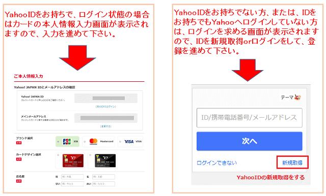 Yahoo! JAPANカード本人情報の入力画面