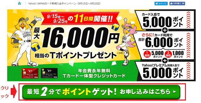 Yahoo! JAPANカード新規入会の画面